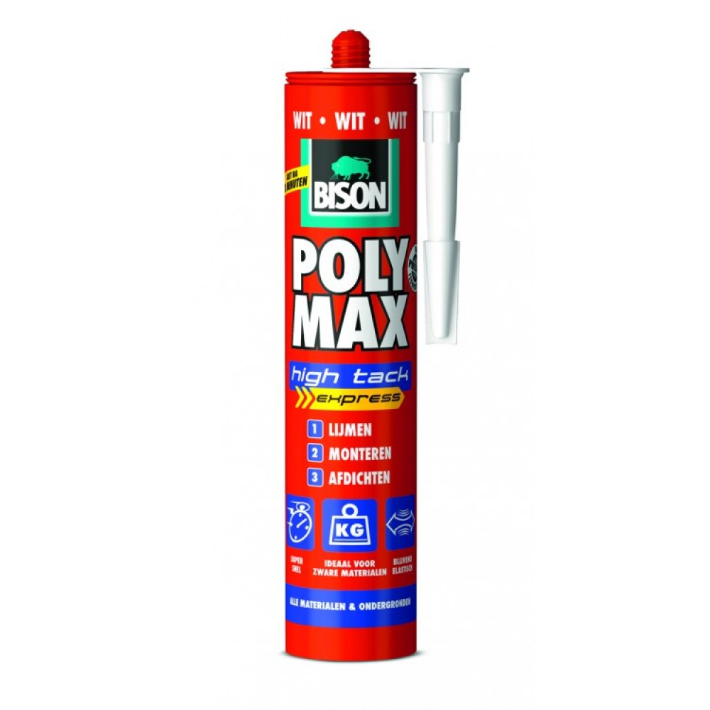 Bison Poly Max High Tack Express Wit 425g | Mtools