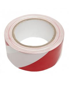 PVC VLOERMARKERINGSTAPE RD/WIT 33 M 50 MM