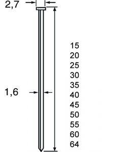 Brads RVS 50mm, SKN16, 16GA / 1.6*2.70mm